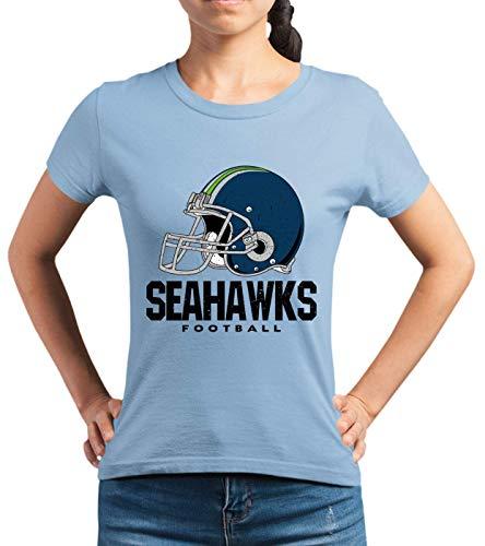 Seahawks The Hawks American Football Any Given Sunday Premium T-Shirt Frauen Shirt, Größe:L, Farbe:Hellblau (SkyBlue L191)