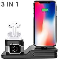 Soporte De Cargador 3 en 1 para iPhone AirPods Apple iWatch,Soporte de Carga Muelle Estación Silicona, Charging Stand Docks Holder para Apple Watch 3/2/1, AirPods, iPhone X/8/8 Plus/7/7 Plus/6s