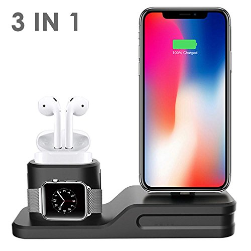 Teepao Caricabatterie Stand Stazione Per Airpods iwatch iphone,3 In 1 Supporto Ricarica Caricatore Dock Station Silicone Per Airpods/Apple Watch Series 3/2/1/Iphone X/8/8 Plus/7/7 Plus/6s/6s Plus