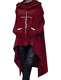 VRTUR Damen Herbst Kapuzenpullover monochrom Lange Kapuzen unregelmäßig langärmeligen Hoodie Langarm-Pullover Sweatshirt