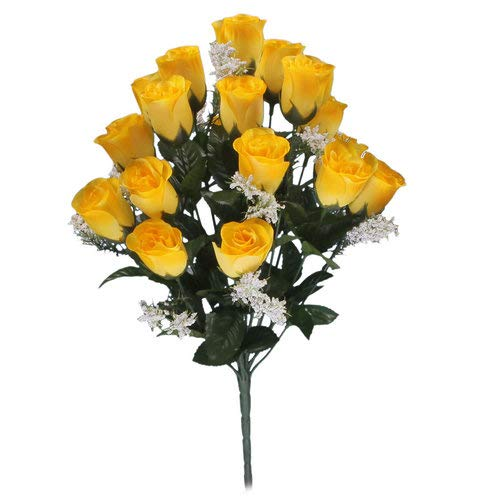 18-head-yellow-rose-buds-artificial-flower-bush-weddings-graves
