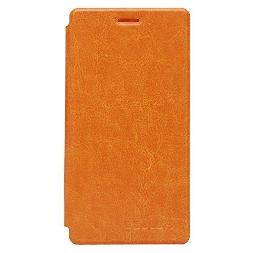 Guran® PU Leder Tasche Etui für UMI Fair Smartphone (Keine Innenschale) Flip Cover Stand Hülle Case-gelb
