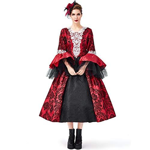 Kostüm Gothic Vampir Girls - Erwachsene Frauen Vampir Kostüm, Retro Court Gothic Maskerade Kleid, High School Girl Cosplay Party Performance Rock M