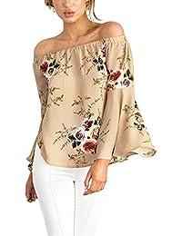 ISASSY Schulterfreies Damen Oberteile Casual Bluse Sommer T Shirt für Standurlaub Chiffon Tops Shirt