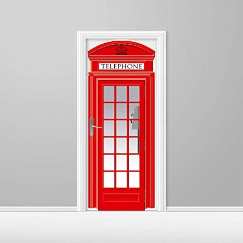 Vinilo para puerta decorativo Cabina de teléfonos Londres Varias Medidas   Adhesivo Resistente y de Fácil Aplicación   Multicolor   Pegatina Adhesiva Decorativa de Diseño Elegante