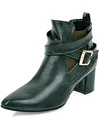 Easemax Damen Modisch Spitze Zehe Cross Band Elastisch Ankle Boots Mit Absatz Braun 42 EU