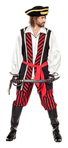 Karneval-Klamotten Piraten-Kostüm Herren Kostüm Pirat Kapitän Komplett-Kostüm schwarz-rot-weiß Abenteuer Herrenkostüm Größe 52