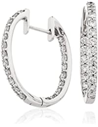 1.30CTS Certified G/VS2 Brilliant Diamond Cut Hoop With Diamonds Around Set Earrings in 18k White Gold