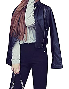 Chaqueta de Cuero Imitación Suave Para Mujer, Abrigo Corto Chaqueta de Motociclista con Cremallera - Negro / M
