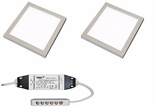 2x quadratisch Küche Licht Slim Flach Panel unter Schrank Cool weiß LED (Die Sirius-verbindung)