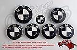 Schwarz und Weiß Glänzend Abzeichen Emblem Vinyl Überzug Aufkleber Superwrappz Bezüge für BMW Haube Koffer Felgen Räder für Alle Serie 1,2,3,4,5,6,7,X1,X2,X3,X4,X5,X6,Z1,Z3,Z4,Z8,M Sport,