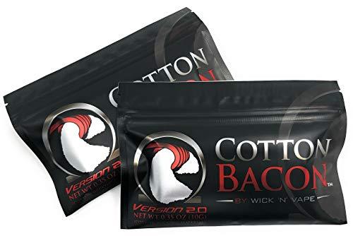 ORIGINAL Wick \'N\' Vape Cotton Bacon V2 - Dampfer Watte E Zigarette Zubehör / Selbstwickler Watte - 2 Packungen-Sparset