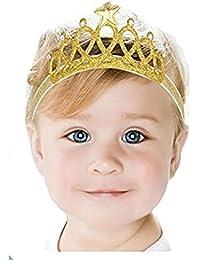 Ziory Golden Baby Girl Baby Boy Unisex Rhinestone Crown Headbands Toddler Princess Headband Hair Accessories Birthday Gift Tiara Crown Headband