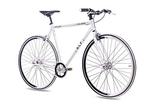 "KCP 28"" Zoll Fixie RENNRAD URBANRAD Single Speed FG1 Flat 2016 Fixed Gear Weiss, Rahmengröße:56 cm"