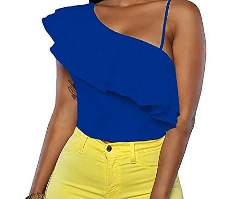 Bling-Bling Ruffle Luxe Crop Top(Blue,L)