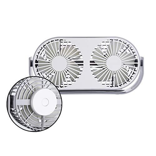Ventilador de Escritorio USB, Cabeza Ajustable, Doble Ventilador Eléctrico, Duradero, Mini Ventilador...