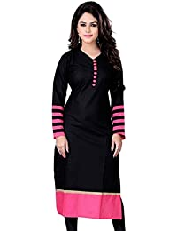 Generic Women's Formal Wear Black Color Cotton Kurti