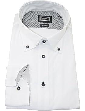 bugatti Hemd modernfit weißes Hemd mit Druck langarm Button-Down Kragen ohne Tasche Size M