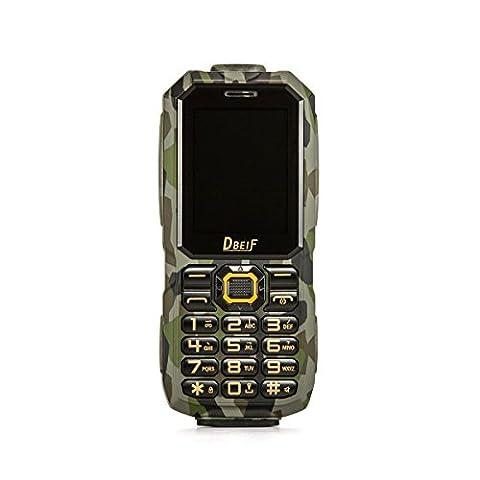 Kebaina Téléphone mobile S3 Dual Sim pour extérieur (écran 2.4 pouces,IP 68 imperméable à l'eau,étanche aux chocs, anti-poussière, haut-parleur,lampe de poche LED et fonction Powerbank),couleur verte de l'armée