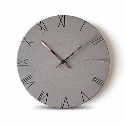 Y-aime.orologi da parete moderno semplice e creativo rotondo soggiorno muto orologio da parete (12 pollici),grigio chiaro