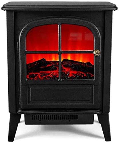 Nfj camino elettrico caminetto stufa elettrica 2000 watt termostato riscaldamento commutabile, effetto fiamma e 2 impostazioni della ventola con realistico e chiaro fuoco e protocolli 3d,black
