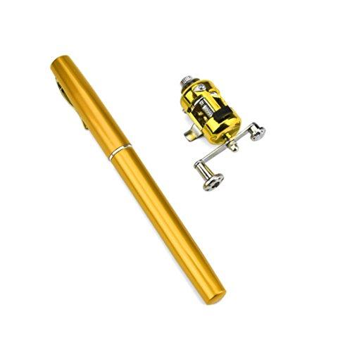 HCFKJ Mini Portable Pocket Fischform Stift Aluminiumlegierung Angelrute Pole Reel (GOLD)