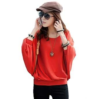 51-42 Japan Style von Mississhop Damen Batwing Shirt Longshirt Tunika Bluse Pulli Rot L