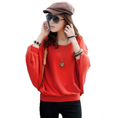 Japan Style von Mississhop Damen Batwing Shirt Longshirt Tunika Bluse Pulli S M L XL 2XL Rot