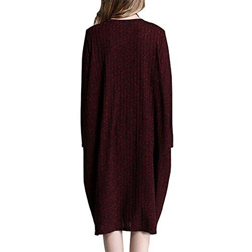 MCC Donne millimetro grasso maglia Alle spalle di lunghezza Maniche lunghe collo tondo maglioni grande vestito lanterna , wine red , xxxl