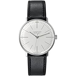 Armbanduhr Max Bill, mechan. Werk!|mit Strichblatt weiß, Armband schwarz