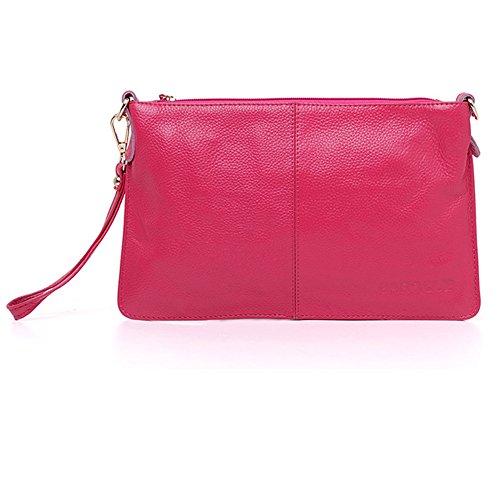 H&W Donna Moda Pelle Vera Clutch Borsa Con Polso e Spallina Azzurro Rose