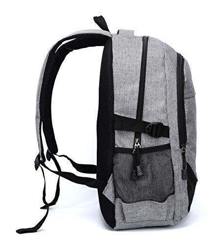 Fur Jaden Grey Casual Backpack with USB Charging Port and 15.6 Inch Laptop Pocket Image 3