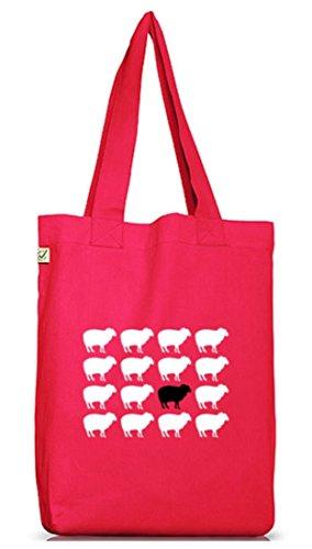 Shirtstreet24, SCHWARZES SCHAF, Jutebeutel Stoff Tasche Earth Positive Hot Pink