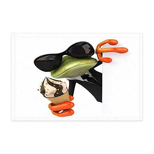 MMPTn Hipster Boho Brille Porzellan Frosch Bad Teppiche lustige Tiere Frosch mit EIS für Kinder Duschmatte 15,7 X 23,6 Zoll Fußmatte für Inneneinrichtungen Badezimmer Boden Teppich