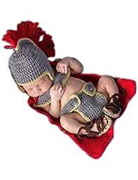 Hecho a mano bebé recién nacido bebé niña niño general de la Armada ganchillo gorro pantalones Fotografía Props ropa disfraz
