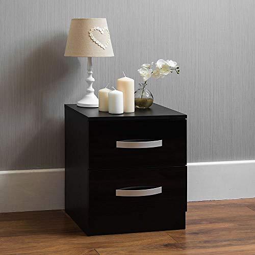 Vida Designs hulio Hochglanz Nachttisch, 2Schubladen, mit Metall-Griffen und Läufer, Anti-Bowing Schubladen, Schlafzimmer-Möbel -