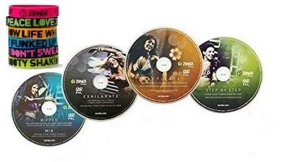 4 teiliges Zumba DVD Set inklusive Zumba Sportarmband zumba fitness zumba video zumba workout (Zumba Fitness-welt)
