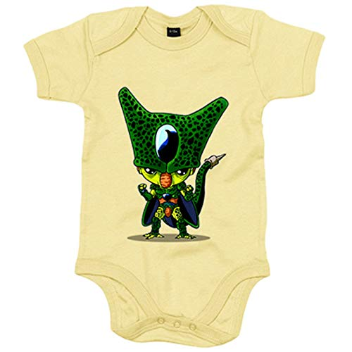 Body bebé Chibi Kawaii Celula parodia de Dragon Ball - Amarillo, 12-18 meses