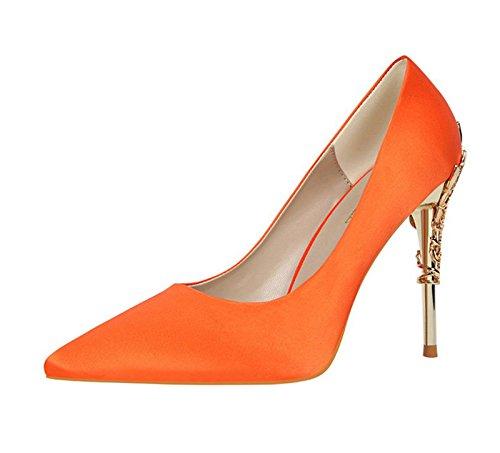 XINJING-S Bowknot High Heels Schuhe Party Hochzeit Frauen Pumps Heels OL Kleidung Schuhe Sandalen Orange