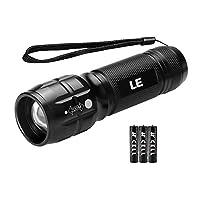 LE Adjustable Focus CREE LED Flashlight, Super Bright, Batteries Included