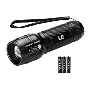 LE Adjustable Focus LED Torch, Super Bright Zoomable Handheld Flashlight, 3 AAA Batteries Included