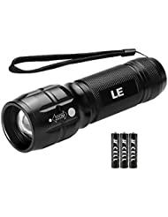 LE Linterna LED con Zoom, Foco ajustable, Resistencia IP44, pilas AAA incluidas