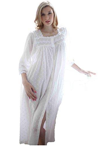 c630e4ff14e1c Cotton Real - Chemise de nuit - À Pois - Femme Blanc Blanc Medium,