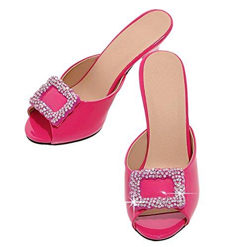AIYOUMEI Damen Lack Peep Toe Stiletto High Heels Pantoletten mit Strass Bequem Modern Sandalen Schuhe roserot