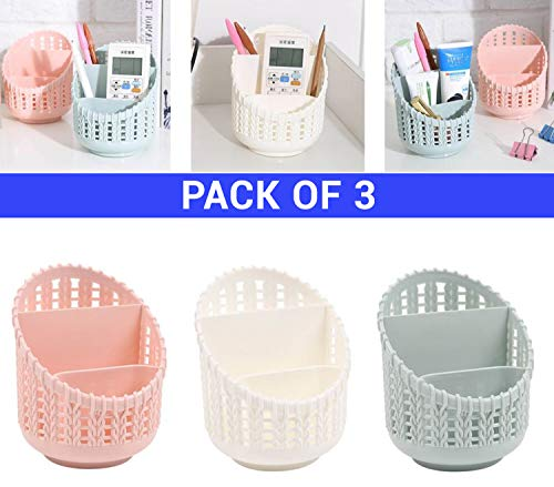 TIED RIBBONS Set of 3 Flexible Plastic Multipurpose Desktop Storage Basket for Pen Pencil Remotes Cosmetic Makeup Brush Skin Care Organizer Holder and Study Table Kitchen Bathroom (Multicolour, Small)
