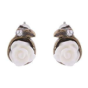 Funky Monkey Stud Collection White Plastic Rose Flower Stud Earrings Jewelry For Women