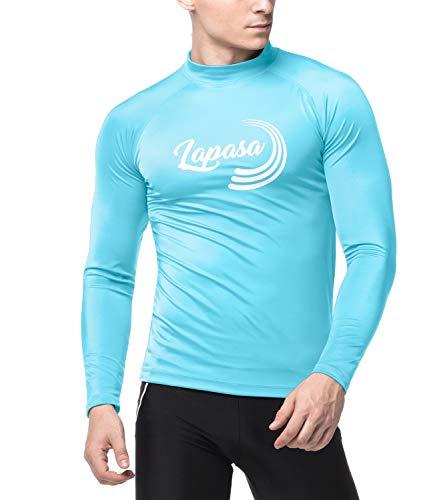LAPASA Herren UV Sonnenschutz Basic Skins Langarm Rash Guard Crew Shirt M43 (XL, Aqua)