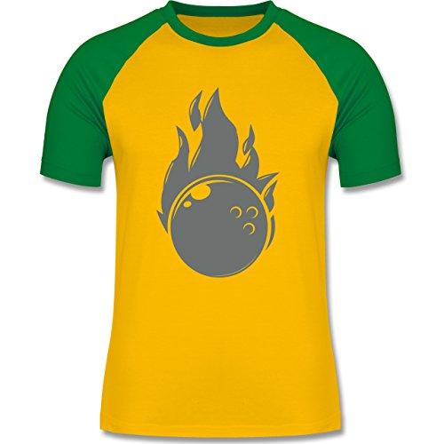 Bowling & Kegeln - Bowling Flammen Ball einfarbig - zweifarbiges Baseballshirt für Männer Gelb/Grün