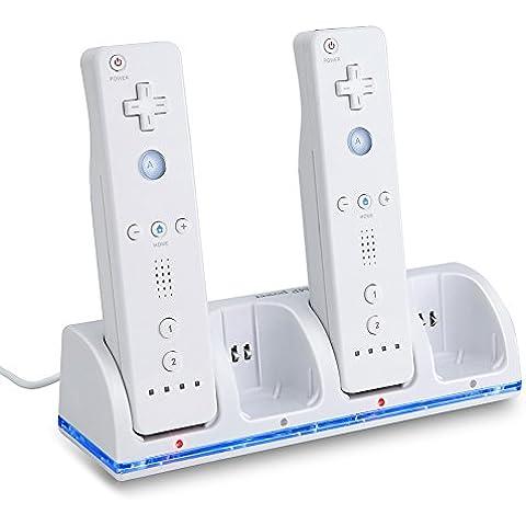 MP power @ USB Estación de carga + 4 x 2800 mAh Baterías recargables para Nintendo Wii WIIMOTE MANDOS REMOTE