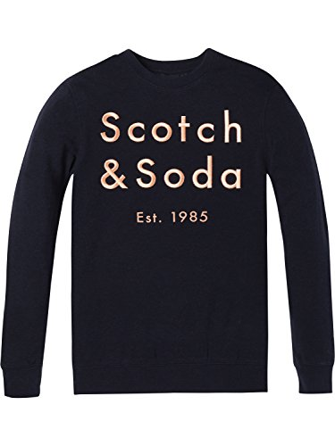 Scotch & Soda Herren Classic Crewneck Sweat with Embroidered Logo Chest Artwork Sweatshirt, Blau (Night Melange 0419), Large - Super Sweat Crewneck Sweatshirt